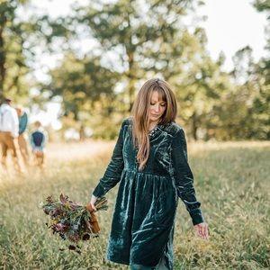 Anthropologie Holding Horses green velvet dress S